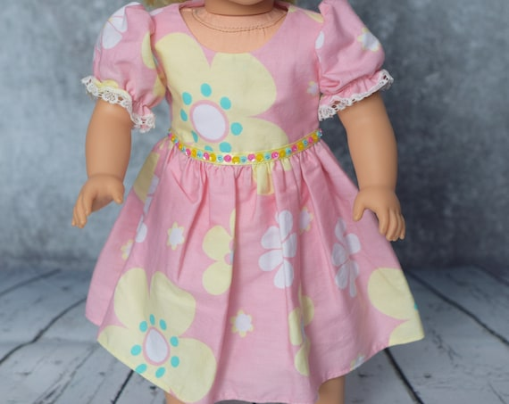 "Cotton Party Dress with Full Skirt & Puff Sleeves for 18"" Dolls, American Girl Doll Clothing, Quality Hand-made Dress, Girl Gift, A113 A119"
