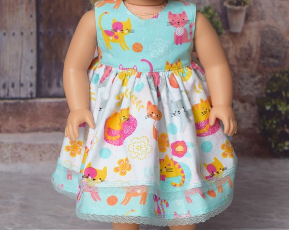 """Cotton Two-Tier-Skirt Sleeveless Party Dress with Back Bow for 18"""" Dolls, Quality Hand-made Doll Dress, American Girl Doll Dress, Girl Gift"""