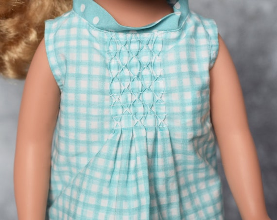 "Certified Organic Cotton Gingham Sleeveless Blouse with Smocking for 18"" Dolls, Quality Hand-made Shirt, American Girl Doll Clothing, Gift"