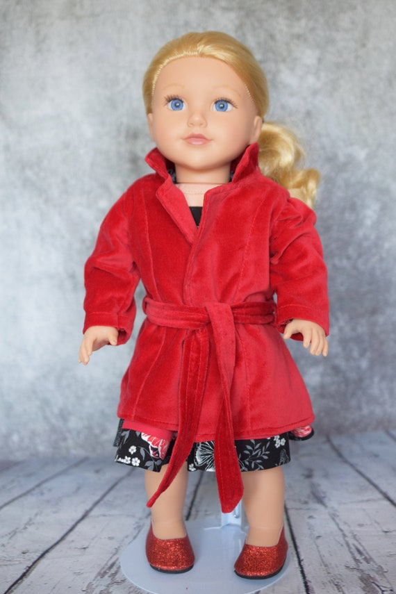 Quality Hand-made Cotton Velveteen Coat for 18-inch Dolls such as American Girl, Girl Gift, Lined Doll Coat, Doll Clothing, Doll Outerwear