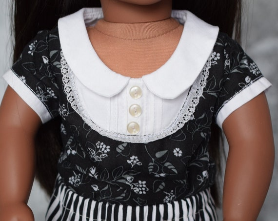 "Cotton Two-Piece Doll Outfit, Black & White Bib Blouse, Quality Hand-made Outfit for 18"" Dolls, American Girl Doll Clothing, Girl Gift"