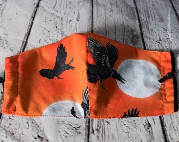 Hallowe'en (Moon & Crow on Orange) Cotton Face Masks (nose wire, filter pocket, adjustable ear elastics), Reusable, Washable