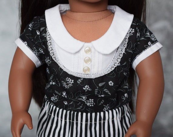 American Girl Doll Clothes - Doll Clothing - Girl Gift - Two-Piece Outfit featuring a Bib Blouse in Black and White for 18-inch Dolls.
