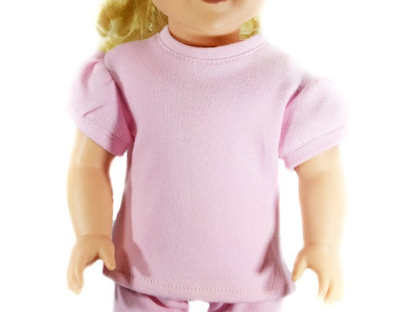 "Organic Cotton T-shirt with Puff Sleeve for 18"" Dolls such as American Girl"