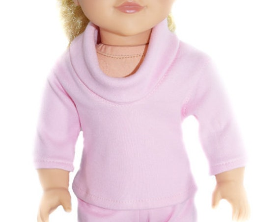 "Organic Cotton Knit T-shirt with a Cowl Neck for 18"" Dolls. A105"