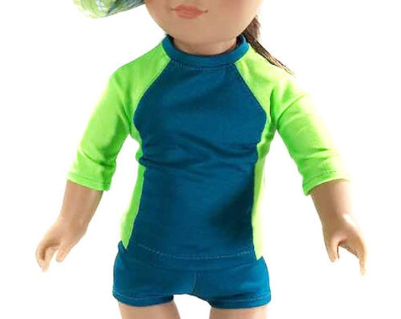 "Rashguard and Swim Short Combo for Your Favourite 18"" Doll such as American Girl"