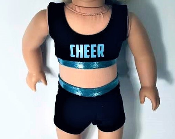 Quality Hand-made Cheer Practice Suit for 18-inch Dolls, Black Widow, Flyers, Sharks, American Girl Doll Clothing, Girl Gift