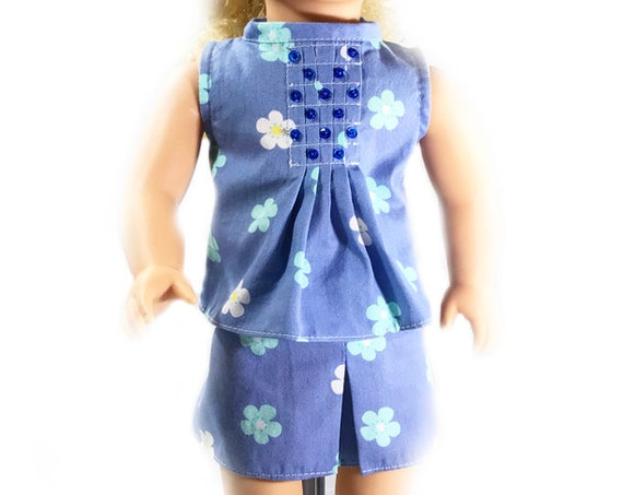 "Cotton Two-piece Outfit (Blouse and Skirt) for 18"" Dolls: Blue Floral. A109"