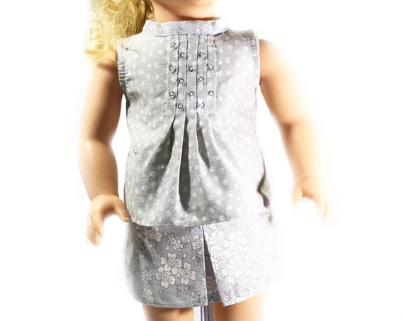"Two-piece Outfit (Blouse and Skirt) for 18"" Dolls. A103"