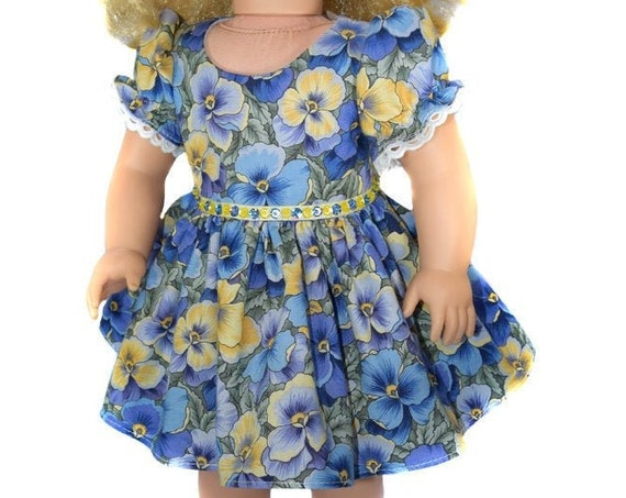 "American Girl Doll Clothes - Doll Dress - Girl Gift - Floral ""Pansy"" Party Dress for 18"" Dolls."