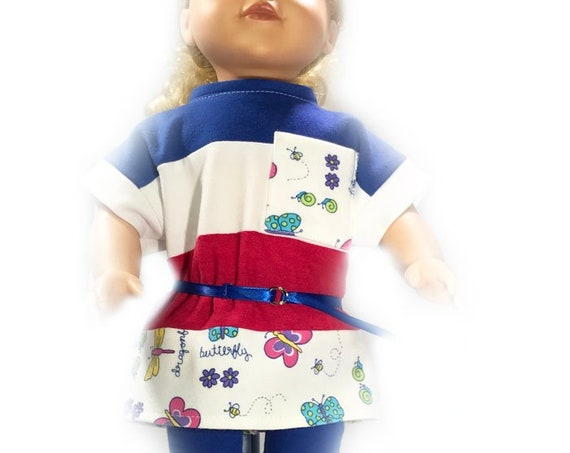 "3-piece Casual Outfit including a Loose T-shirt, Leggings and a Belt for 18"" Dolls. A124"