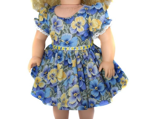 "Blue and Yellow Pansy Party Dress for American Girl and Other 18"" Dolls"