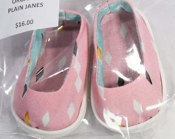 "Organic Cotton Plain Jane Shoes for 18"" Dolls. A112 A113 A114 A121 A122 A125 A130"