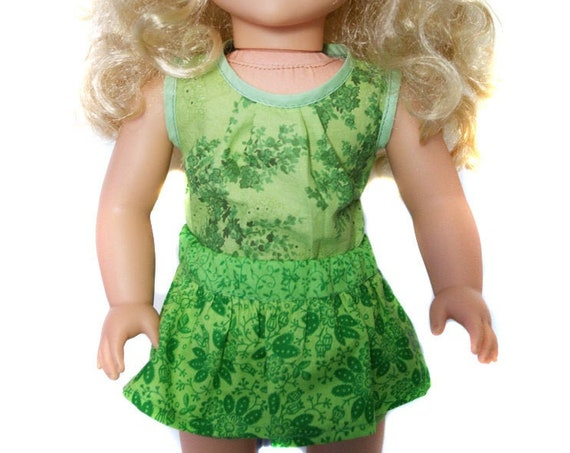 "2-piece Outfits with an Aloha Blouse and Peplum Skirt for 18"" Dolls."