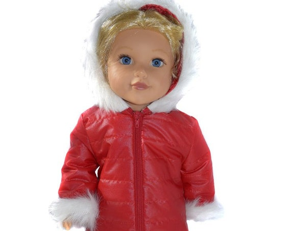 "Puffer Style Hooded Red Winter Coat with Fun Fur Trim for American Girl and Other 18"" Dolls"