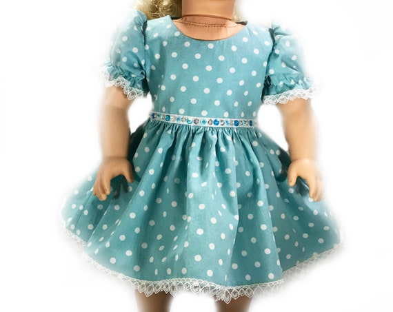 "Organic Cotton Short-Sleeved Party Dress for 18"" Dolls. A130"