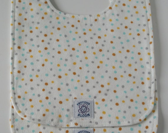 Organic Cotton Flannel Large Baby Bibs (set of 2): Confetti Sky.  B105