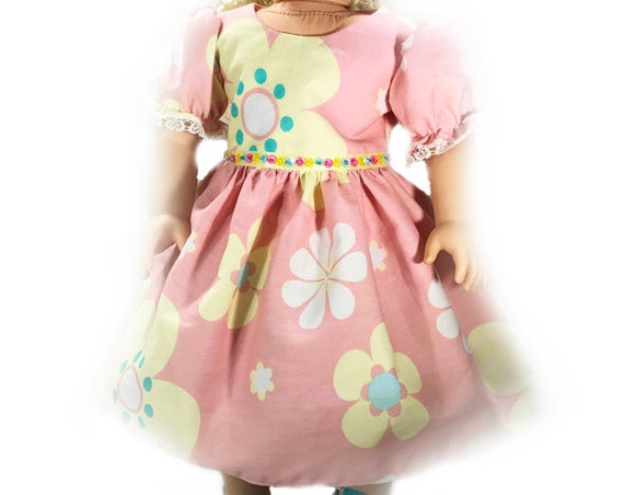 "Coral Floral Party Dress with Puff Sleeves and Sequin Detail for 18"" Dolls. A113 A119"