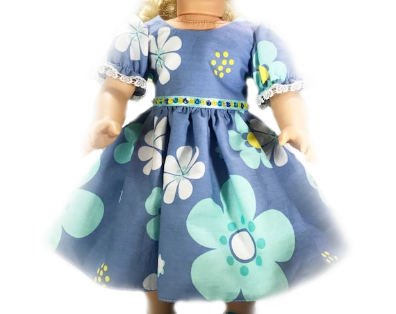 "Blue Floral Party Dress for 18"" Dolls. A109"