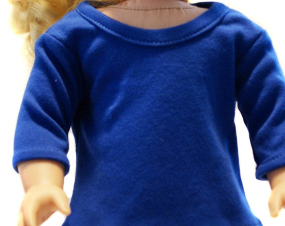 """Cotton 3/4-Sleeve T-shirt with a Round Neckline for 18"""" Dolls, American Girl Doll Clothing, Girl Gift, Quality Hand-made T-shirt A123"""