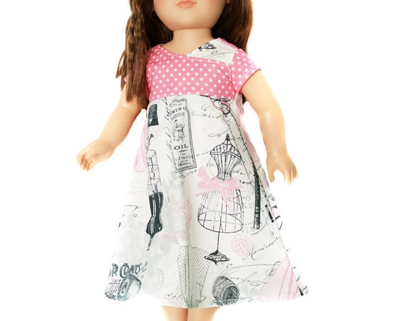 "Cotton Play Dress with Matching Braided Headband for 18"" Dolls. A128"