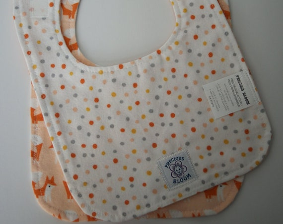 "Organic Cotton Flannel ""Reversible"" Medium Bibs (Set of 2): Foxes Coral. B103"
