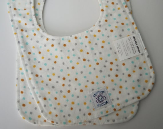 Organic Cotton Flannel Medium Baby Bibs (Set of 2): Confetti Sky. B105