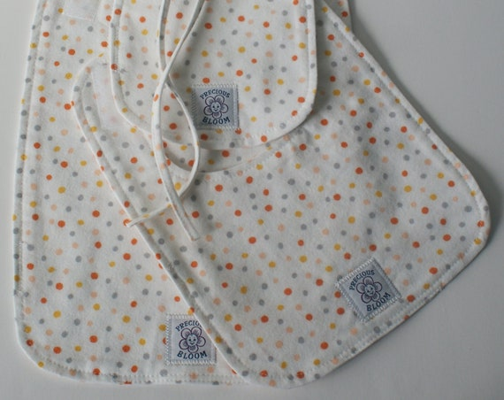 So Soft Organic Cotton Flannel Bib Set (3 sizes): Confetti Coral