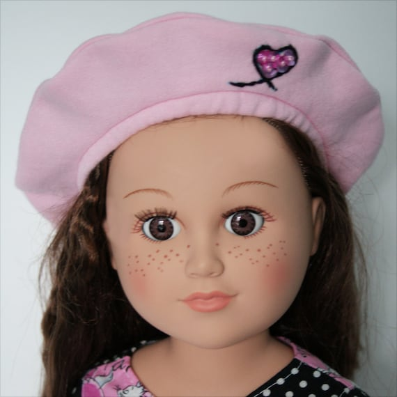 "Pink Cotton Beret for 18"" Dolls. A120"