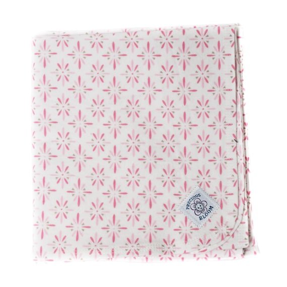 Organic - Receiving Blanket - Baby Gift - Hand-Made Organic Cotton Flannel Swaddling or Receiving Blanket: Burst Pink or Brown