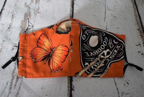 Hallowe'en Orange Cotton Face Masks (nose wire, filter pocket, adjustable ear elastics), Reusable, Washable