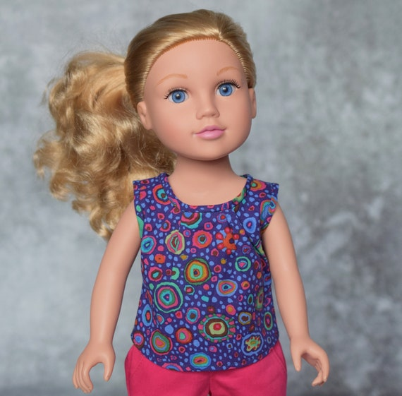 "American Girl Doll Clothing - Girl Gifts - Hand-Made Sleeveless Cotton Blouse for 18"" Dolls: Purple Print."