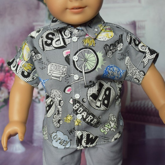 """Hand-made Cotton Short Sleeve Shirt for 18"""" Boy Dolls such as American Girl"""