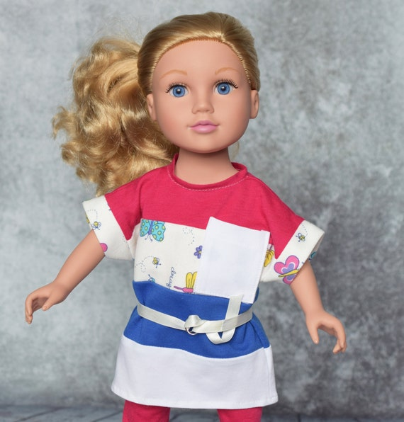 "American Girl Doll Clothing - Doll Clothing - Girl Gift - 3-piece (T-shirt, Leggings, Belt) Casual Outfit for 18"" Dolls. A124"