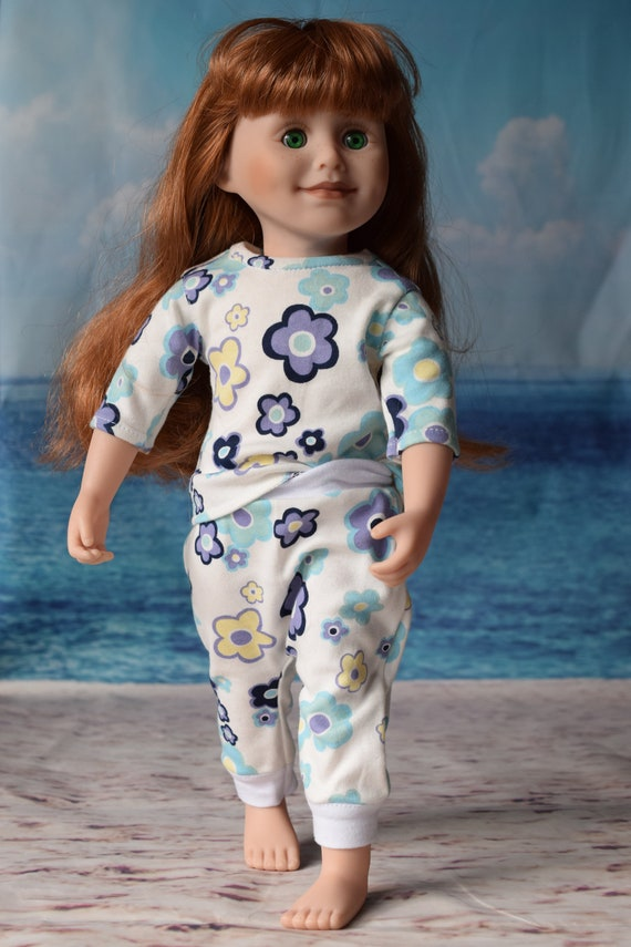 """Cotton Doll Outfit, T-shirt & Harem Pants in Floral Pattern, 18"""" Doll, Sized to Fit 18"""" Dolls, Quality Hand-made Doll Outfit, Girl Gift"""