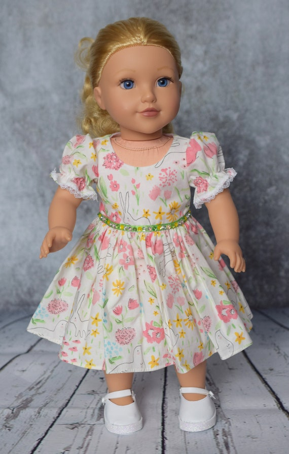 "American Girl Doll Clothing - Doll Dress - Girl Gifts - Cotton Party Dress featuring Bunnies for 18"" Dolls. A112"