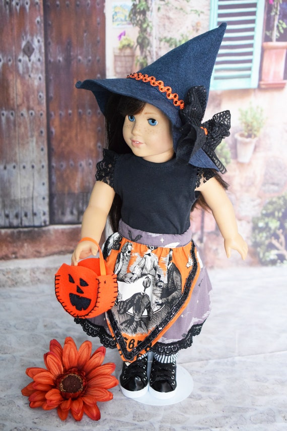 """Doll Hallowe'en Party Outfit, 6-piece Doll Outfit (T-shirt, Skirt, Hat, Socks & Treat Bag), Sized to Fit Most Popular 18"""" Dolls, Girl Gift"""