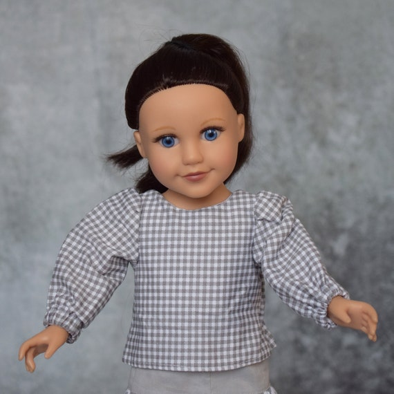 "Hand-made Grey and White Outfit including Gingham Blouse with Long Sleeves and White Bow and a Grey and White Skirt for 18"" Dolls"