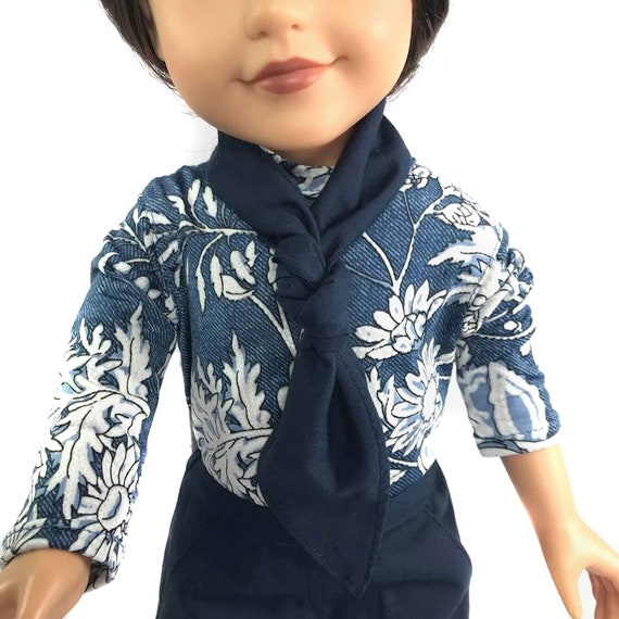 American Girl Doll Clothing - Doll Clothing - Girl Gift - Floral High-Neck Long-Sleeved Knit Top