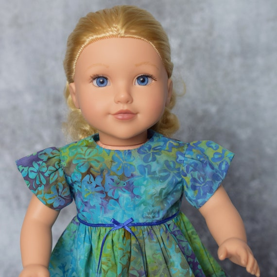 "American Girl Doll Clothing - Doll Dress - Girl Gifts - Cotton Batik Party Dress for 18"" Dolls"