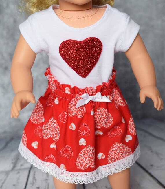 "American Girl Doll Clothes - Doll Clothing - Doll Skirt - Girl Gift - Valentine Day Cotton ""Paper Bag"" Skirts for 18"" Dolls"
