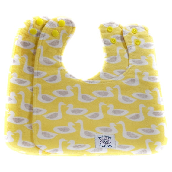 Organic Baby Gift - Organic Baby Bibs - Organic Cotton Flannel Reversible Bibs (2 Medium): Ducks Pink or Yellow