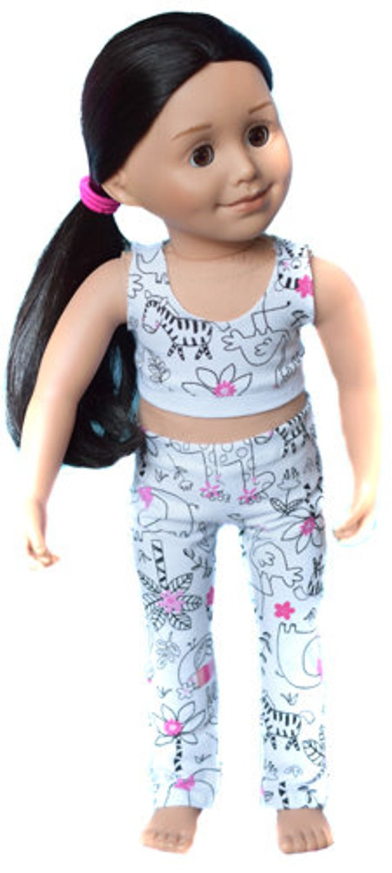 """Cotton Doll Outfit, 2-piece Bralette and Legging Outfit in Animal Print, Sized to Fit Popular 18"""" Dolls, Quality Hand-made Outfit, Girl Gift"""