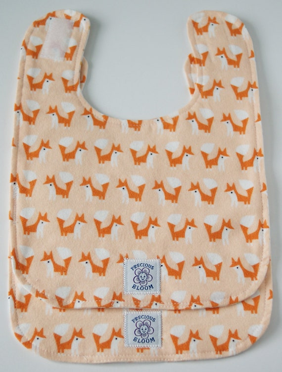 "Organic Cotton Flannel ""Reversible"" Large Baby Bibs (Set of 2): Foxes Coral. B103"