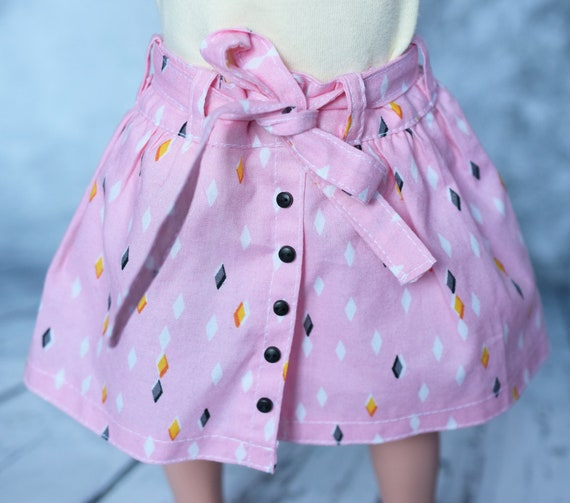 Organic Doll Skirt with Front Button Opening and Tie Belt for 18-Inch Dolls such as American Girl.