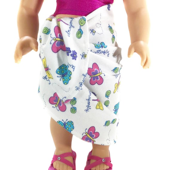 "Knit Tie Skirt in Butterfly Pattern for American Girl and Other 18"" Dolls"