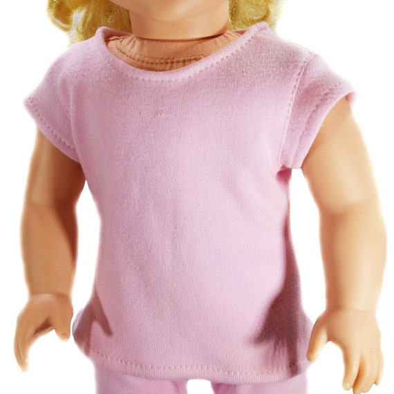 "Organic Cotton Knit T-shirt with Cap Sleeves for 18"" Dolls. A105"