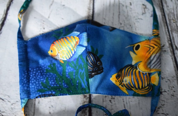 Tropical Fish Reusable Cotton Face Masks (Filter Pocket, Nose Wire and Fabric Ties),  Various Sizes