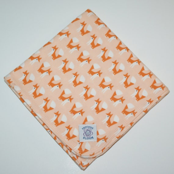Organic - Receiving Blanket - Baby Gift - Hand-Made Organic Cotton Flannel Swaddling or Receiving Blanket: Foxes Coral. B103
