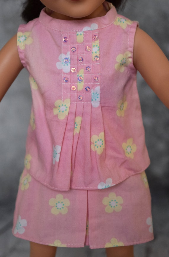 """American Girl Doll Clothing - Two-piece Outfit (Blouse and Skirt) for 18"""" Dolls: Coral Print. A119"""